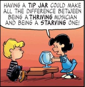 Schroeder's tip jar from Peanuts